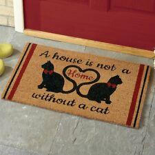 Cute Kitty Cat Heart Love Welcome Outdoor Coir Bristles Porch Rug Front Door Mat