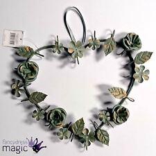 Gisela Graham Vintage Retro Metal Floral Heart Verdigree Wreath Home Decoration