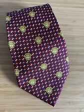 Gianni VERSACE Medusa Silk Tie Vintage 90s Geometric Mirpatrik Gold Red Blue