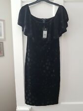 New Look Formal/Holiday Black with Stars/LBD Dress 12 Velour Lined New with Tags