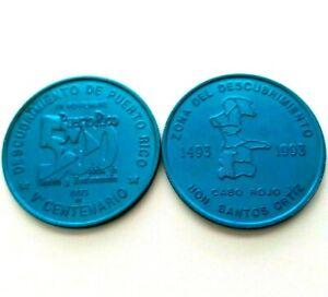 Medalla 500 Años 1993 QUINTO CENTENARIO Discovery of PUERTO RICO Cabo Rojo Azul