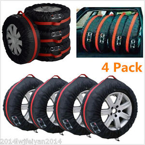 """4pc Car Seasonal Spare Tyre Protector Cover 13""""-19"""" Tire Storage Bags Carry Tote"""