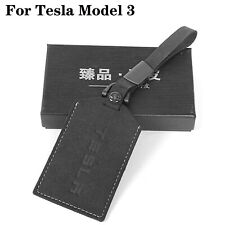 For Tesla Model 3 Key Card Holder Key Chain and cowhide Leather Protector Cover