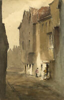 Frank Rutley, Old Houses in Wych Street, London – 1878 watercolour painting