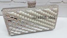 Creamy/Ivory~Handmade~Bridal Evening Pearl Clutch Bag☆Free shipping To UK☆T-29