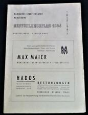 KARLSRUHE GERMANY BADISCHES STAATS THEATER SEATING GUIDE BROCHURE 1954 VINTAGE