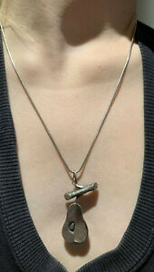 French Vintage, Solid Fine Silver & MOP Pear Pendant on matching Solid SS Chain.