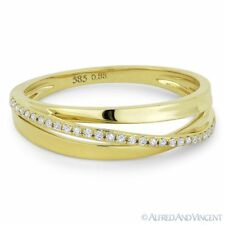 Ring / Band in 14k Yellow Gold 0.09 ct Diamond Right-Hand Overlap Loop Stackable