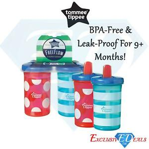 2 x Tommee Tippee Free Flow Super Sipper Bottles BPA Free, Leak Proof 300ml