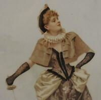 WONDERFUL VICTORIAN ERA PRINT OF A WELL DRESSED WOMAN HOLDING A SWORD
