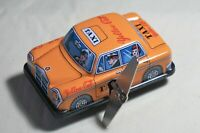 "VINTAGE Tin Toy Japan Sanko 3"" Wind Up Auto Turn Yellow Cab Taxi Mercedes Car"