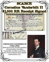SCARCE - 1884 Cornelius Vanderbilt II - $1,000 RR Receipt signed