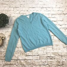 Worthington 100% Cashmere Womens Pullover Sweater EUC V-Neck Long Sleeve Blue XL