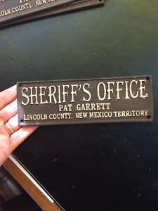 "Sheriff Metal Sign Plaque 1/4"" Thick Wyatt Earp Man Cave Collector Pat Garrett"