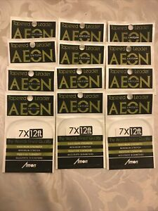 Box AEON NOS Tapered Knotless Leader 7x 12 Ft Fly Fishing 12 Packs Japan Amon
