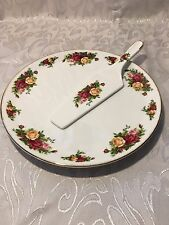 "STUNNING ROYAL ALBERT ""OLD COUNTRY ROSES"" CAKE PLATE AND SERVER NEW"