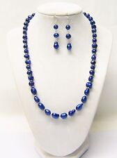 """Sapphire Freshwater Potato Pearl w/Crystal Spacer Bead Necklace/Earrings (19.5"""")"""