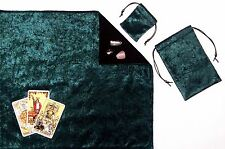 Green Velvet Tarot Cloth & Bags or Pouch 3-piece Divination Set fully lined