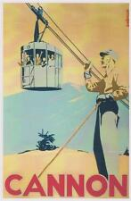 Ski Poster Cannon Aerial Tram and Skier 1940's Franconia NH