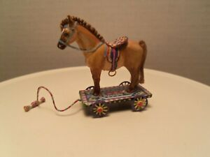 Gorgeous Bay Pony  on Wheeled Cart  by Amanda Skinner dated 2009
