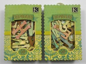 2 Boxes K & Company Roam Chipboard Letters & Icons 58 Pieces Gold NEW