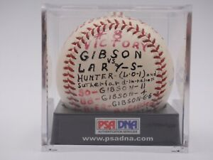 BOB GIBSON GAME USED SIGNED 1964 WIN #8 BASEBALL AUTOGRAPHED PSA/DNA CERTIFIED