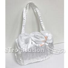 Gril's Kids Lady Dress Up Handbag Evening Wedding Bag 3 Rose Flower Purse White