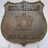 COUNCILMAN PARAMUS NJ Old Brass Plaque Embossed Badge Sign Ad New Jersey