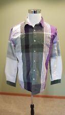 Ecko Unltd. Men's Long Sleeve Button Down Purple/Green Plaid Shirt size Large