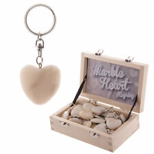 Valentine Day Special Classic White Marble Heart Key Ring-Cute Gift Any Occasion