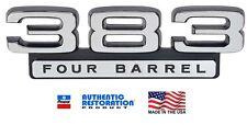 NEW Mopar 1966-1970 Black 383 Four Barrel Fender Emblem 66 67 68 69 70