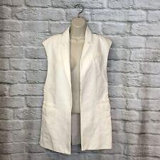 Zara Basic Women's XS White Sleeveless Open Front Vest W/ Sheer Back Panel