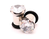 Pair of Prong Set Steel CZ Plugs Single Flare gauges tunnels PICK SIZE