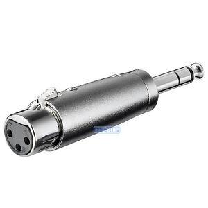"STEREO 6.35mm 1/4"" Male Jack Plug to 3 Pin XLR Female Socket Amp Mic Adapter"