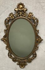 Vintage GOLD Metal FRAMED MIRROR French Baroque Retro SHABBY CHIC Kitsch