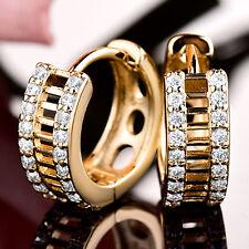 Golden Huggie Ring Gold Filled Crystal Rhinestone Lady Women Party Hoop Earrings