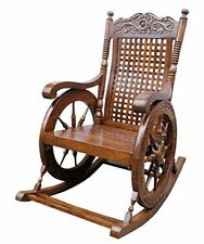 Shilpi Wooden Carved  rocking chair/relax chair/ thinking chair