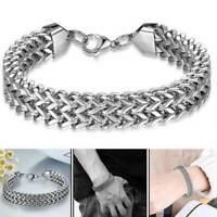 Fashion Bracelet Bangle 925 Sterling Silver S/F Men Solid Cuff Curb Cuban Link