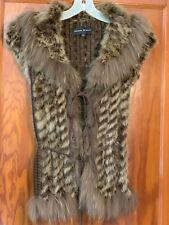 DANA STEIN Brown Fur Sweater Vest Raccoon Rabbit Fur Festival Size Small