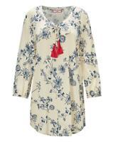 Joe Browns ladies blouse plus size 24 26 30 32 ivory blue floral gypsy