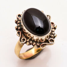 Natural Black Onyx Gemstone Ring Size US 6.5, Antique Brass Jewelry BRR122