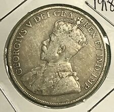 1918 NEW FOUNDLAND 50 CENTS SILVER COLLECTOR COIN. FREE SHIPPING