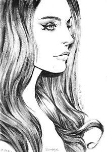 original drawing A4 115RE art Realism oil dry brush female portrait Lana Del Rey
