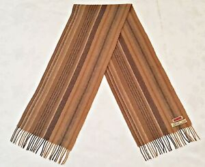 GERMANY VINTAGE AUTHENTIC CITY SPORT STRIPED CAMELHAIR LONG MEN'S FRINGE SCARF