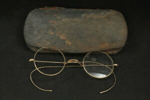 Vintage 1930's 1940's Shur-On Wire Cable Temple Round Eyeglasses & Hard Case