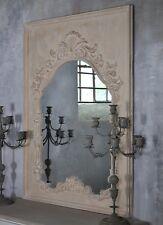 Vintage Legno Specchio Parete Cornice Grande Vecchio Stile Shabby Bianco Rustic