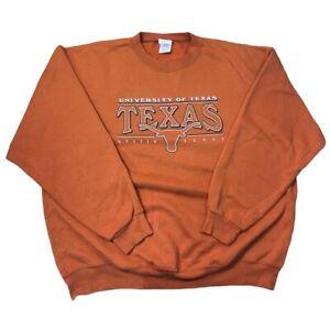 VTG UT Austin Texas Longhorns Crewneck Pullover Sweatshirt Orange XL NCAA