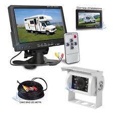 "Kit Retromarcia Monitor 7"" e Telecamera Mirror 18 LED HD per Camper Furgone"