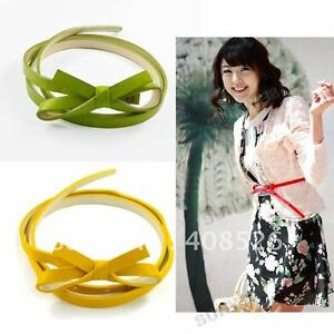 Women waist belt,ladies wais tbelt faux leathr skinny flower KNOT belt UK Seller