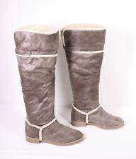 5S H&M Damen Stiefel Boots Gr. 37 Textil Fell gefüttert leicht weich Weitschaft